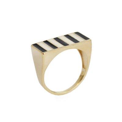Anel Retangular Stripes