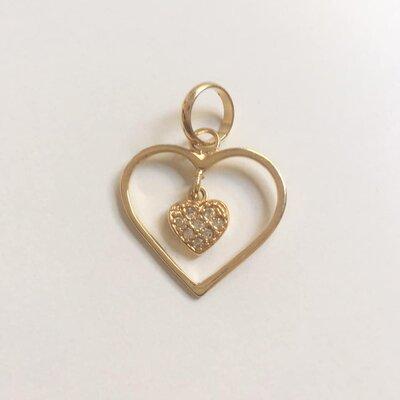 Pingente Coração Duplo Dourado
