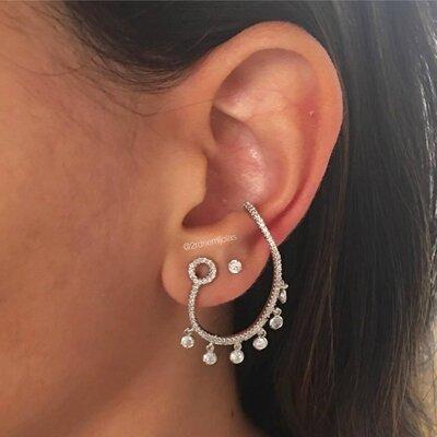 Brinco Ear Piece Tiffany Prateado