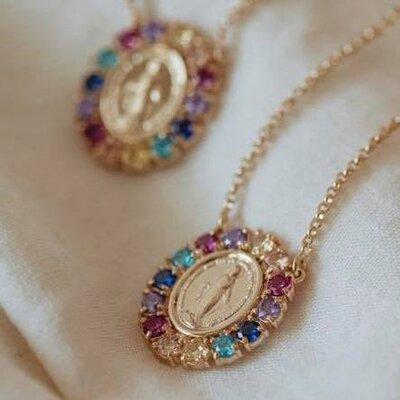Colar Medalha N. Sra das Graças Rainbow Ouro