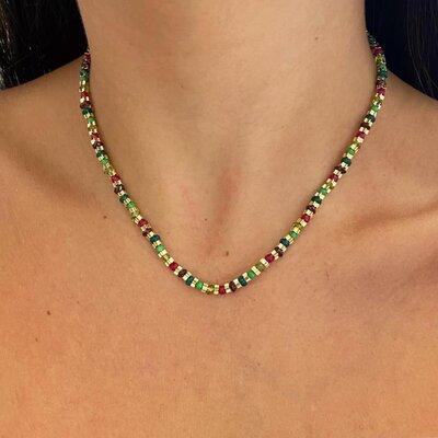 Colar Estrelinhas Jades Coloridas