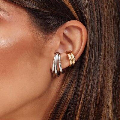 Piercing Earhook Falso Triplo Ródio