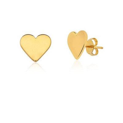 Brinco Coração Chapado Ouro