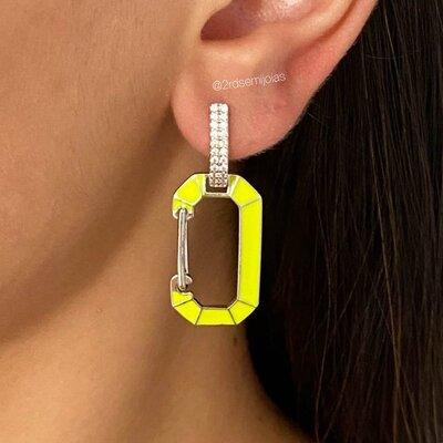Argola Chiara Locker Amarelo Neon