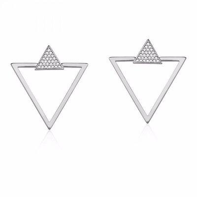Brinco Triângulo Duplo Prateado