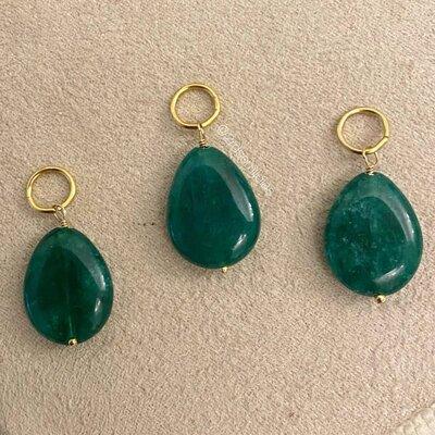 Pingente Gota Jade Verde