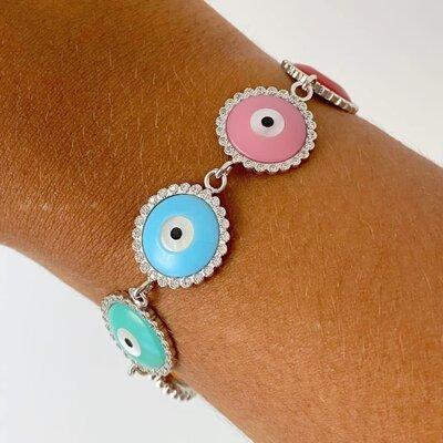 Pulseira Olho Grego Colors - Prata 925