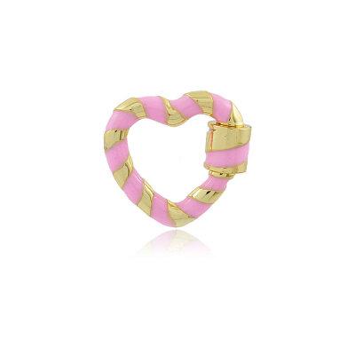 Pingente Mosquetão Coração Esmaltado Rosa