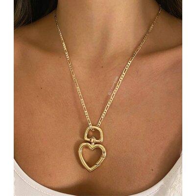 Pingente Mosquetão Maxi Coração Dourado
