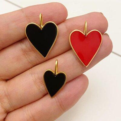 Pingente Coração Esmaltado Vermelho G