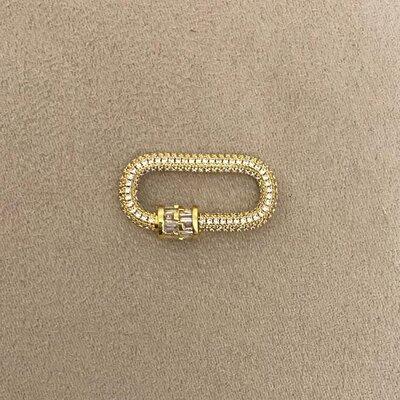 Colar Fecho Mosquetão Clássico Cravejado Dourado