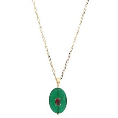 Colar Jade Verde Oval
