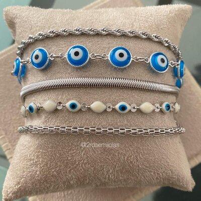 Pulseira Olho Grego Azul Turquesa Prateada