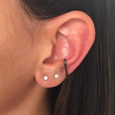 Piercing Earhook Negro - Prata 925