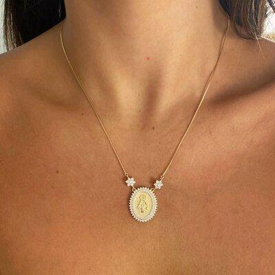 Colar Medalha N. Sra das Graças Ouro - Prata 925