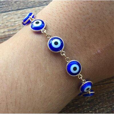 Pulseira Olho Grego Azul Marinho Dourada