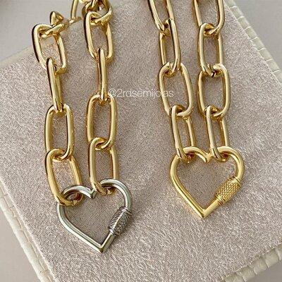Colar Elos Mosquetão Coração Dourado