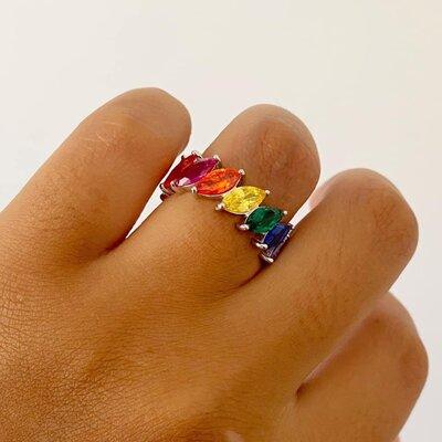 Aliança Inteira Navetes Rainbow - Prata 925