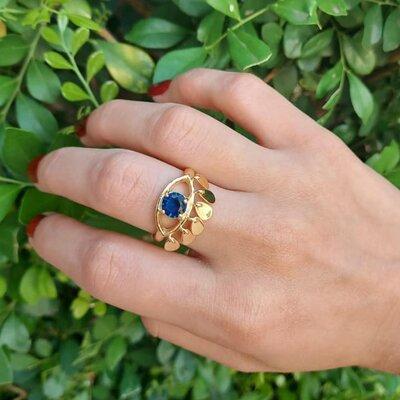 Anel Shine Olho Grego Cílios Azul