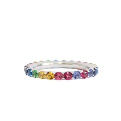 Aliança Inteira Ponto de Luz Rainbow - Prata 925