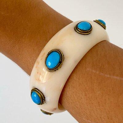 Bracelete Marfim com Turquesa