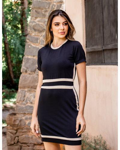 Vestido Micaela recortes diagonal e vertical