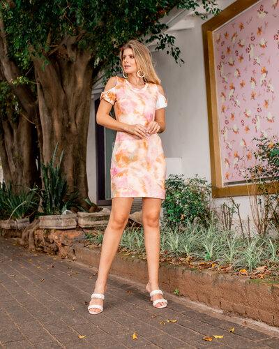 Vestido Letícia com manga vazada