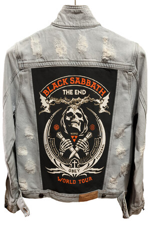 Jaqueta Jeans Destroyed Cru Black Sabbath
