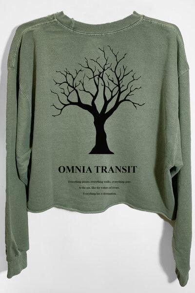 Cropped de moletom estonado verde Omnia Transit