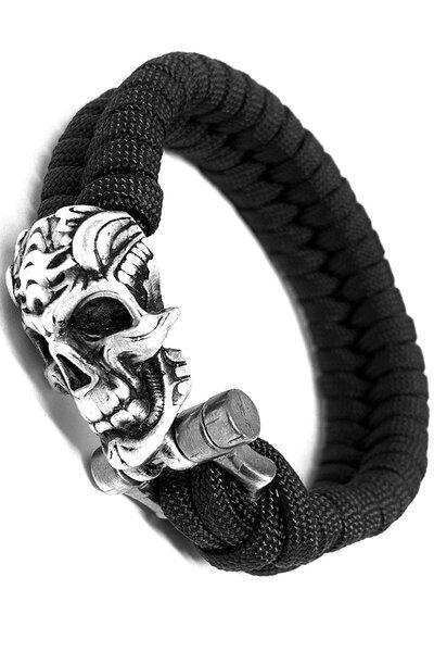 Pulseira paracord Preta (Silver Skull)