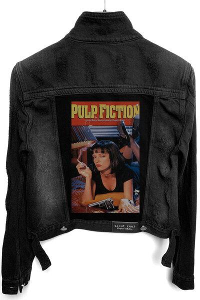 Jaqueta Jeans Destroyed Preta Feminina Pulp Fiction