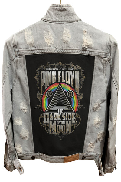 Jaqueta Jeans Destroyed Cru Masculina Pink Floyd Dark