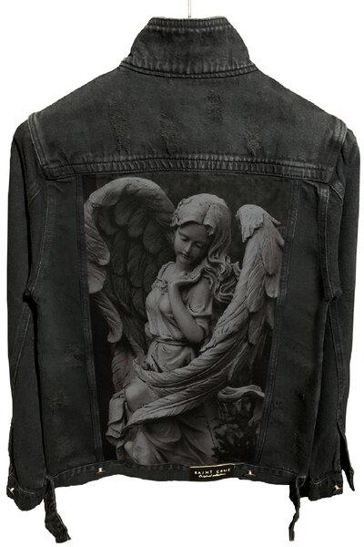 Jaqueta Jeans Destroyed Preta Masculina Angel