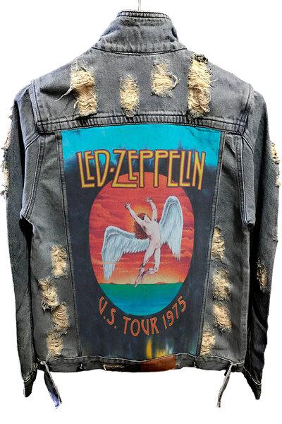 Jaqueta Jeans Destroyed Tradicional Led Zeppelin Tour