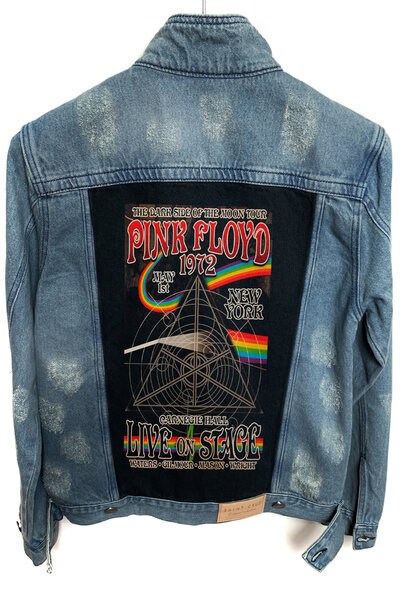 Jaqueta Jeans Rock Destroyed Tradicional Masc. Pink Floyd 1972