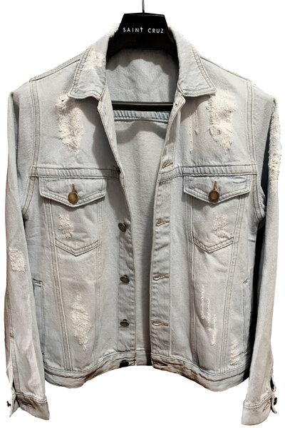 Jaqueta Jeans Destroyed Cru Masculina Pink Floyd 1972
