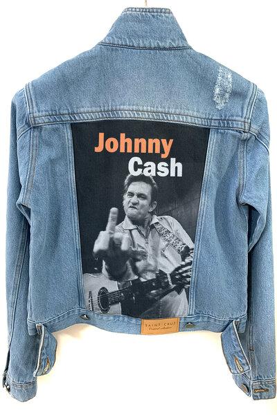 Jaqueta Jeans Rock Destroyed Tradicional Feminina Jonny Cash
