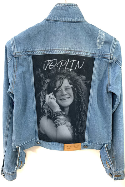 Jaqueta Jeans Destroyed Tradicional Feminina Janis Joplin