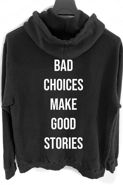 Blusa de moletom preto Bad Choices (Estampa Branca)