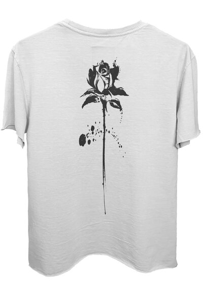 Camiseta branca Abstract Black Rose