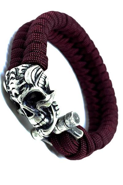 Pulseira paracord Vinho (Silver Skull)