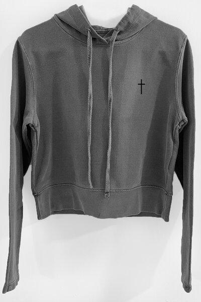 Blusa de moletom estonado chumbo Feminino Cross
