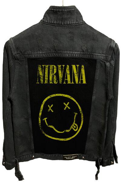 Jaqueta Jeans Destroyed Preta Nirvana