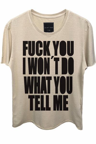 Camiseta estonada areia Tell Me (Front)