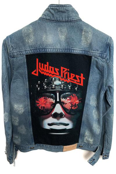 Jaqueta Jeans Destroyed Tradicional Masculina Judas Priest