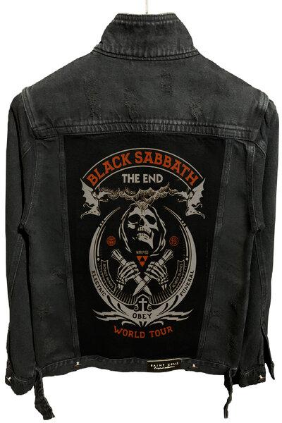 Jaqueta Jeans Destroyed Preta Masculina Black Sabbath