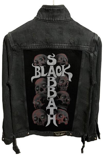 Jaqueta Jeans Destroyed Preta Masculina Black Sabbath Skull