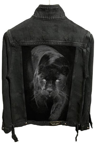 Jaqueta Jeans Destroyed Preta Masculina Panther