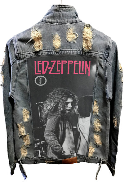 Jaqueta Jeans Destroyed Tradicional Robert Plant