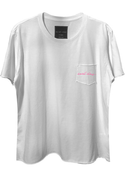 Camiseta com bolso branca Saint (Rosa)